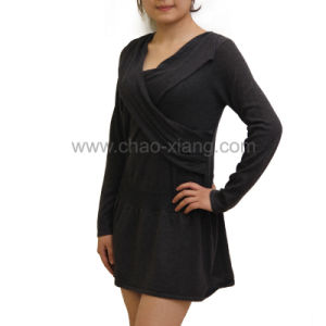 Ladies V-Neck Knitting Dress (CX12S006)