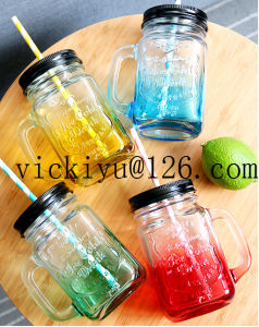 Yellow Glass Mason Jar 450ml Glass Juice Jar with Metal Cap and Straw pictures & photos