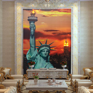 Wholesale 2016 Latest LED Light Oil Paintings on Canvas Statue of Liberty Landscape pictures & photos