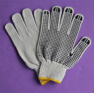 10 Gauge or 7 Gauge PVC Dotted Bleached White Cotton Work Glove pictures & photos