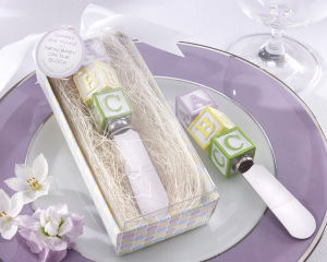 "New Baby on The Block"" Alphabet Block Stainless-Steel Spreader Baby Shower Wedding Favors Gifts"