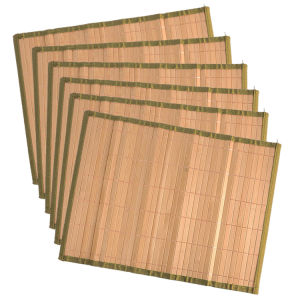 Chinese Natural Bamboo Heat Coloured Edge Dining Table Mat pictures & photos