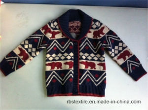 Baby Boy Intarsia - True Knitted Shawl Collar Cardigan pictures & photos