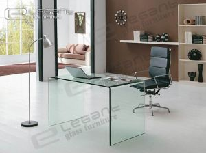 China Living Room Furniture, Clear Glass Office Computer Desk ...