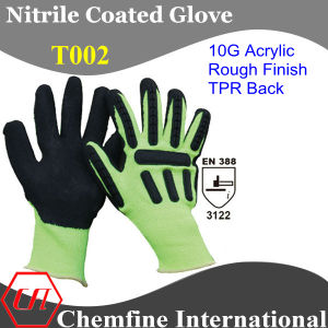 10g Green Acrylic Fiber Knitted Glove with Black Nitrile Rough Coating & TPR Back/ En388: 3122 pictures & photos