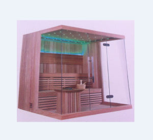 Two-Meter High 3-4 People Capacity Wooden Dry Sauna Room (M-6042) pictures & photos