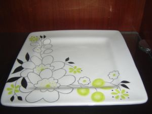 Ceramic Square Plate with Hand Painted Pattern pictures & photos