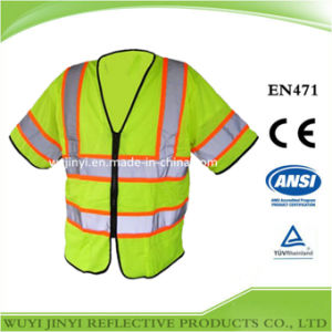 High Visibility Reflective Safety Vest with Black Zipper