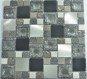 Foil Back Glass Mosaic Mix with Stainless Steel pictures & photos