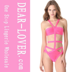 Pink Cut-out Bandage One-Piece Swimwear pictures & photos