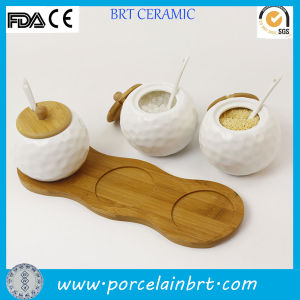 Wholesale White Ceramic Kitchen Ball Jar for Spice pictures & photos