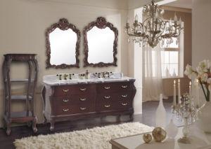 Antique Cherry Double Basins Cabinet