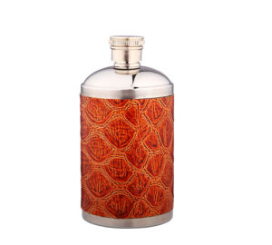 Pink Leather Wrapped Mini Hip Flask (QL-SB01B)