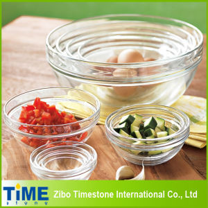 Durable Glass Kitchen Stackable Clear Bowl Set (15033002) pictures & photos