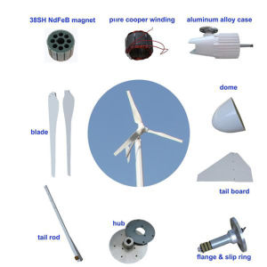 2kw Permanent Magnet Wind Turbine Generator 24V/48V for Land and Boat, Ce Certification Horizontal Wind Power pictures & photos