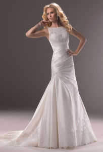 Ivory Boat Neck Mermaid Taffeta Bridal Wedding Dress