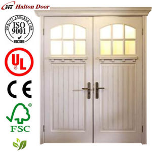 Solid Entrance Wood Door/Classic Timber Door/ Wooden Door for Villa/White Wood Door