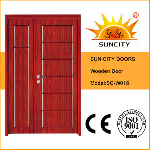 Entrance Flush Carving Mon&Son Wood Door (SC-W018) pictures & photos