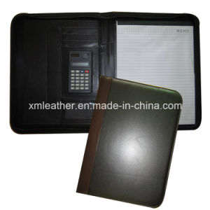 Business Zip A4 Leather Presentation Folder with Calculator pictures & photos