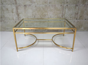 Two Layers Golden Stainless Steel Glass Coffee Table Set (CCT-022)