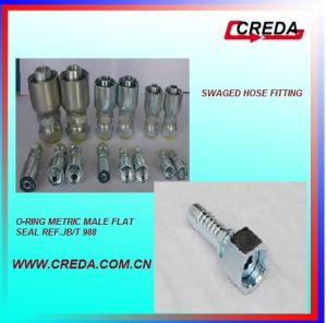 Metric Female Flat Seal Swaged Hose Fitting