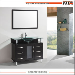 2016 Tempered Glass Solid Wood Bath Cabinet T9142D pictures & photos