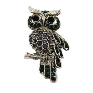 High Quality Crystal Metal Owl Brooch Pin pictures & photos
