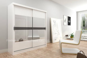 Popular Warm White Bedroom Mirror Sliding Door Wardrobe (HF-EY023) pictures & photos