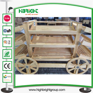 Wooden Fruits Car and Vegetables Display Racks for Stores pictures & photos