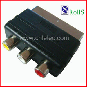 Nickel-Plated Connector Scart Plug to 3RCA Jack Scart Adaptor Scart Adapter (SH3013) pictures & photos