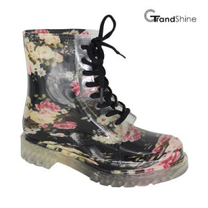 Women′s Garden Floral Lace up PVC Rain Boot