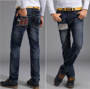 Holes in Jeans Slim Straight Men Tide Paste Baggy Jeans Wear White Jeans pictures & photos
