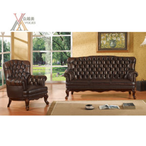 Antique Style High Back Leather Sofa Set (S10) pictures & photos