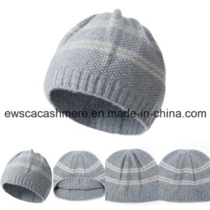 Women′s Top Grade Pure Cashmere Hat with Stripes A16wa4-001