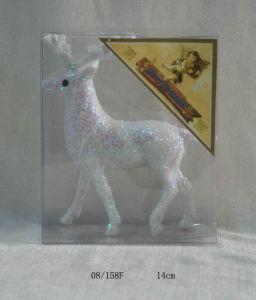 White Foam Tinsel Deco. Christmas Deer Hanging Ornament
