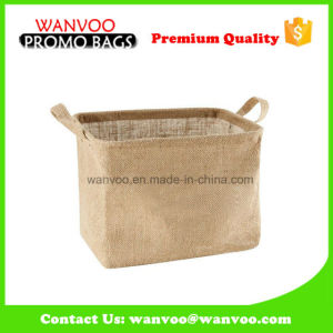 Fancy Design Square Jute Storage Bag with Small Handle pictures & photos
