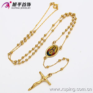 14k Gold Color Jesus Image Necklace with Cross Women Fahion Jewelry (42419) pictures & photos