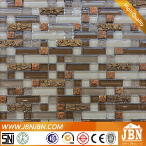 Stairs Wall Golden Resin and Pure Color Glass Mosaic (M855066) pictures & photos