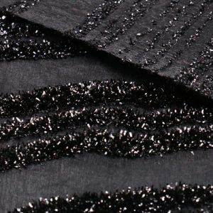 Shiny Black Polyester Nylon Fabric for Women′s Tops pictures & photos