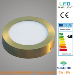 Sigemr Surfaced Round Golden 12W 18W LED Panel pictures & photos