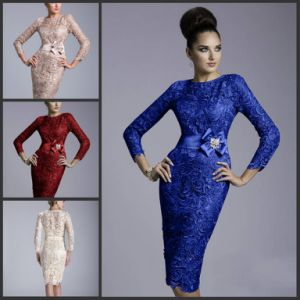 Blue Red Pink Cocktail Dress Mother of The Bride Dress Crew 3/4 Long Sleeves Short Evening Dress Y1782 pictures & photos