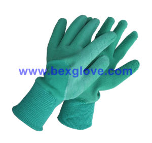 Color Cotton Interlock Liner, Latex Coating, Ripple Styled Crinkle Finish Glove pictures & photos