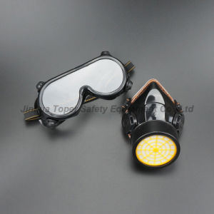 Double Cartridge Chemical Respirator Indirect Vents Safety Goggle Group Set (CR308) pictures & photos