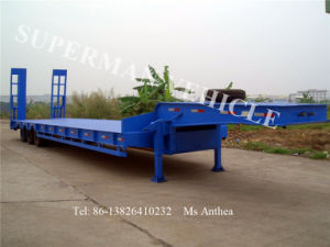 60t Low Bed Lowbody Cargo Truck Semi Trailer pictures & photos