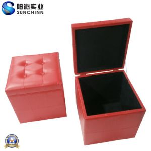 Modern Red PU Leather Wooden Box (SCOM00006)