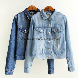 Ladies New Fancy Plain Heavy Vintage Washed Crop Denim Jackets pictures & photos