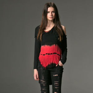 PT-042 Black and Red Color V-Neck One Shoulder High-Low Hemline T-Shirt pictures & photos