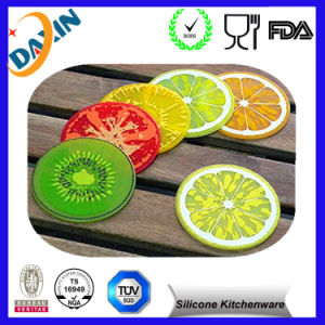 "Novelty Design Non-Slip Fruit Slice Silicone Drink Coaster (9X9cm (3.5"")) pictures & photos"
