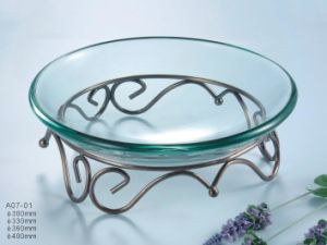 Glass Buffet Plate with Chrome Stand pictures & photos