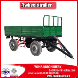 4 Wheels Double Axle Farm Trailer in Rear Dumping 7cx-8 pictures & photos